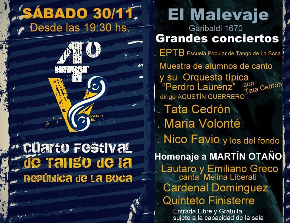 Sáb.30 NOV. 22hs en el IV Festival de Tango de la República de La Boca
